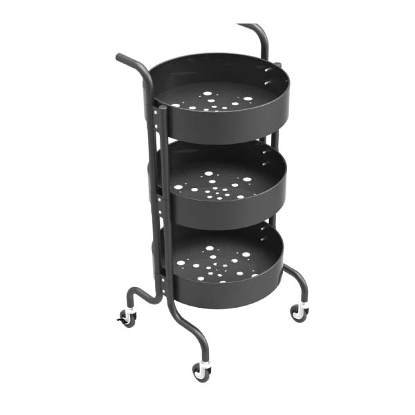 3-Tier Metal Mesh Trolley Rolling Storage Kitchen Cart with Utility Handle-HS-001