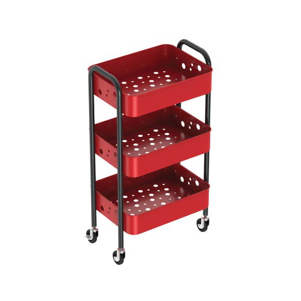 Red 3 Tier Rolling Cart Steel Metal Kitchen Storage Trolley-HS-004