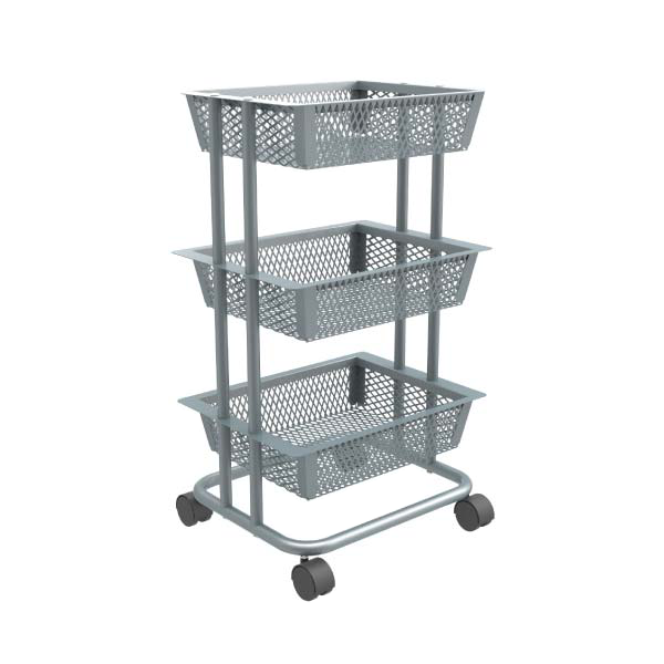 Rolling metal basket kitchen cart storage car-HS-007
