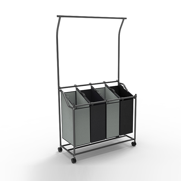 Laundry Sorter Cart With Hanging Bar-HMZYL-03