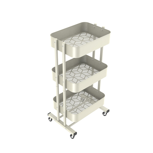 Customized 3-Tier Metal Mesh Trolley Rolling Storage Kitchen Cart with Utility Handle-HS-006