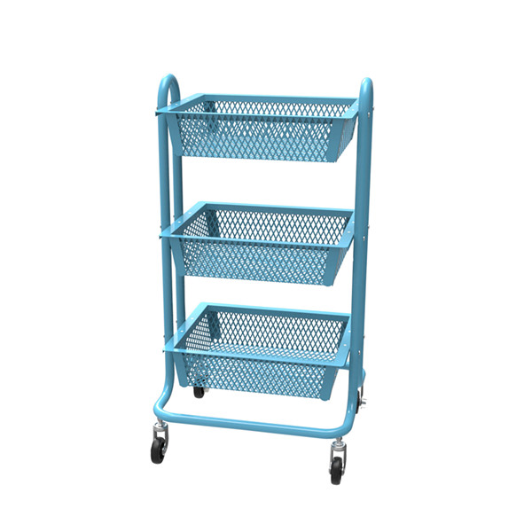 Carbon steel Classic mesh mobile cart-HS-009