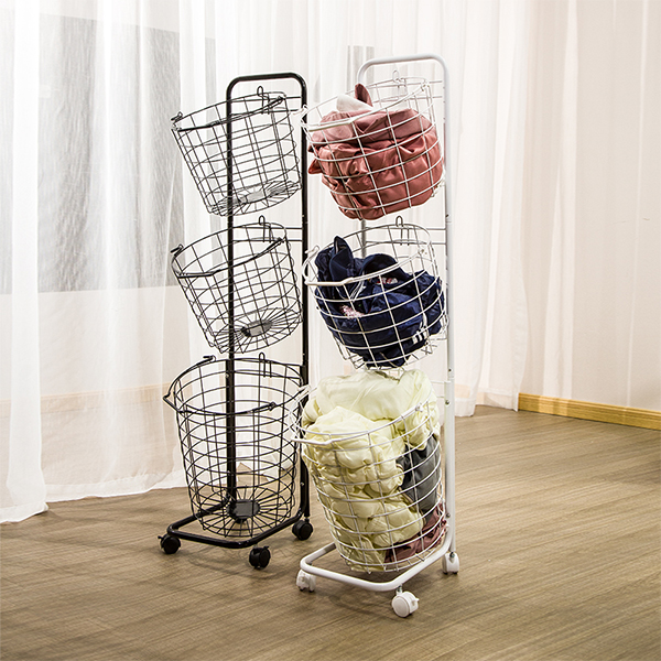 Nordic Metal Laundry Basket Wheeled Dirty Clothes Storage Home Multicolor Clothes Basket-HLB-06